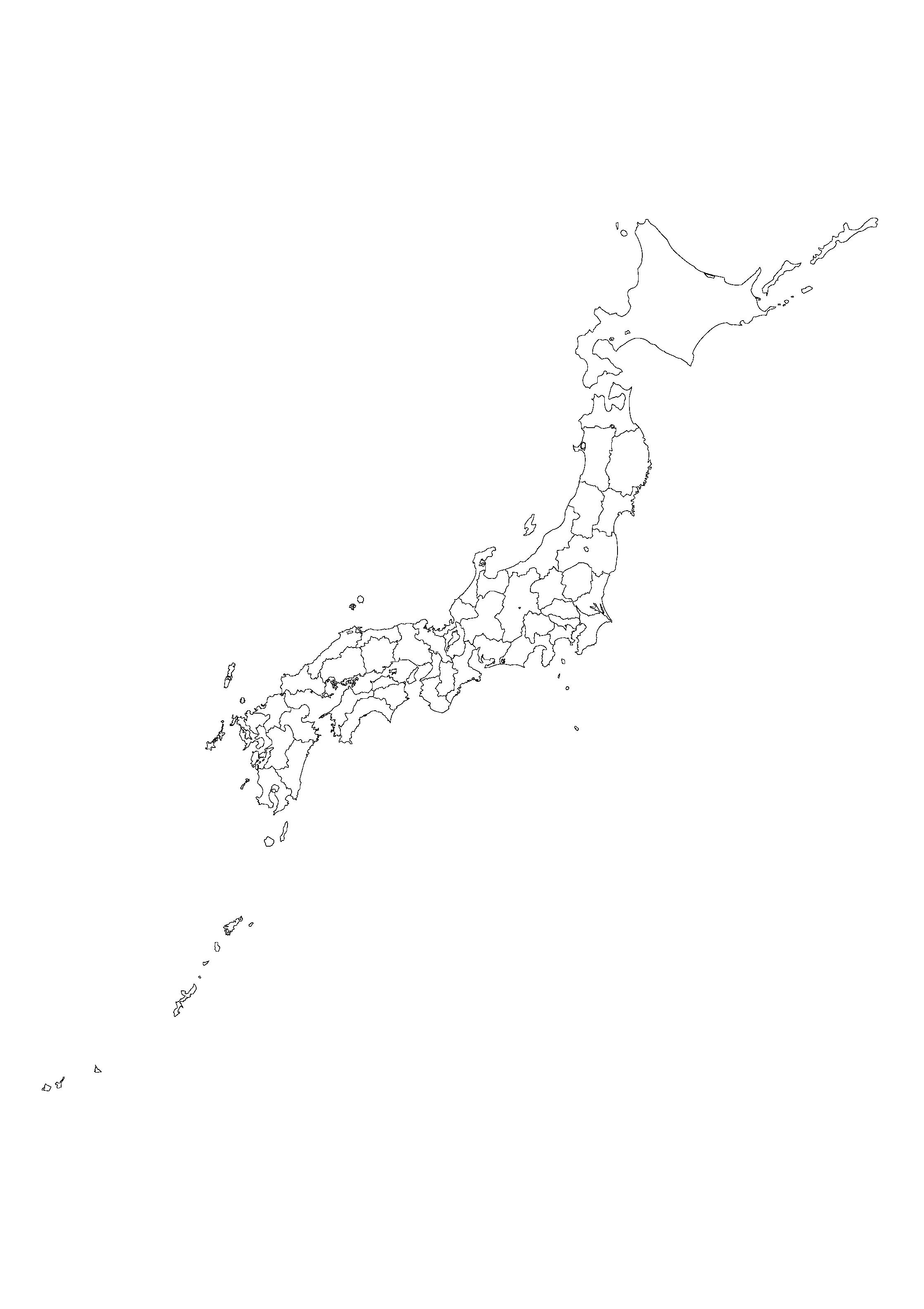 SVG形式 A4 , B4 ( マッピング ... : 日本列島 白地図 : 日本